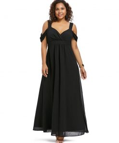 Sweetheart Neck Plus Size Empire Waist Women Maxi Dress