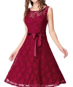 Lace Dress With Cloth Belt