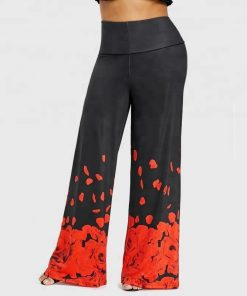 Palazzo Wide Leg Pants Loose Style Printed Broken Rose