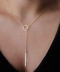 Chic Y Shaped Gold Plated Lariat Style Necklace