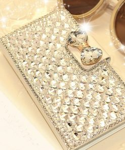 Luxury Bling Diamond Card Slot Wallet Leather Flip Mobile Phone Case
