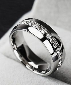 18K gold plated diamond ring high quality stainless steel