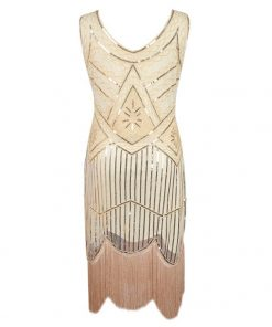 Vintage 1920s Gatsby Charleston Sequin Flapper Fringe Party Dress