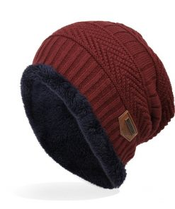 Trendy Warm Soft Knitted Cap Velvet Wool Cap Winter