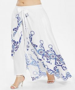 Casual Print Skirted Pants