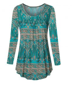 Scoop Neck Pleated Long Sleeves Tunic