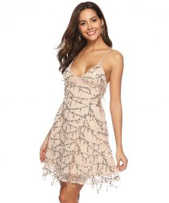 Backless Lace Up Halter Sequin Party Dress