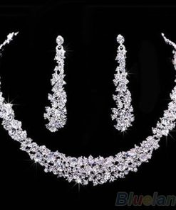 Bridal Rhinestone Crystal Necklace Earrings Jewelry Set