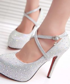 Wedding Crystal Platforms Silver Glitter Rhinestone Bridal Shoes