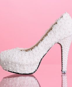 Flower Lace Platform High Heels Pearls Wedding Shoes