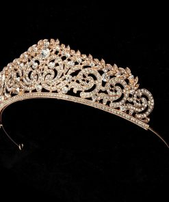 Rose Gold Crystal Wedding Bridal Crown Rhinestone Tiara