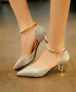 Glitter Ankle Pearl Chain Strap High Heel Pointed Toe Sandals