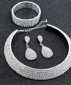 Choker Necklace Earrings + Bracelet + Earrings Set