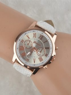 Gold Watch Leather Band Analog Quartz Casual