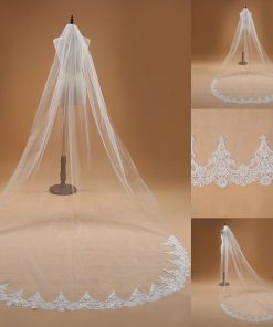 Lace Edge White Ivory Cathedral Wedding Veil Long Bridal Veil