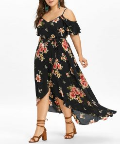 Casual Short Sleeve Cold Shoulder Boho Flower Print Long Dress