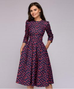 A-line Retro Small Floral Seven-point Sleeves Round Neck Dress