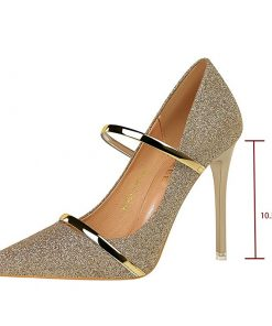 Slim Fit Wedding Party Pointed Toe High Heels Ladies Sequins