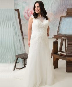 Plus Size See Through Scoop Appliqued Sweep Train Dress