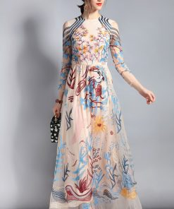 Designer Maxi Dress Women's Long sleeve Lace Tulle Mesh Floral Embroidery Long Dress Floor Length Party Dress